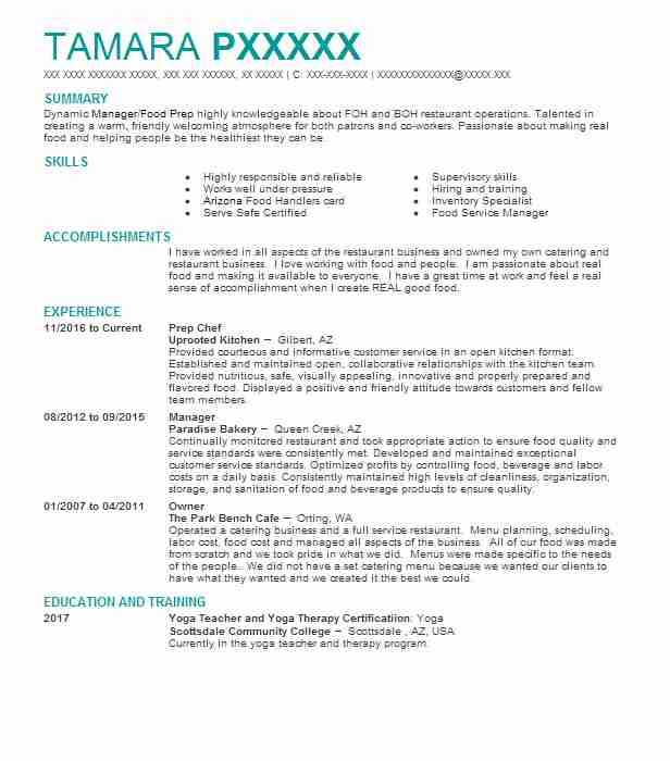 Prep Chef Resume Sample Chef Resumes LiveCareer