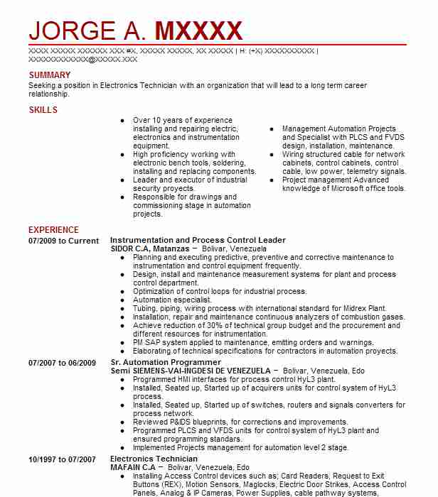 Instrumentation And Control Engineer Objectives Resume Objective - project control engineer sample resume