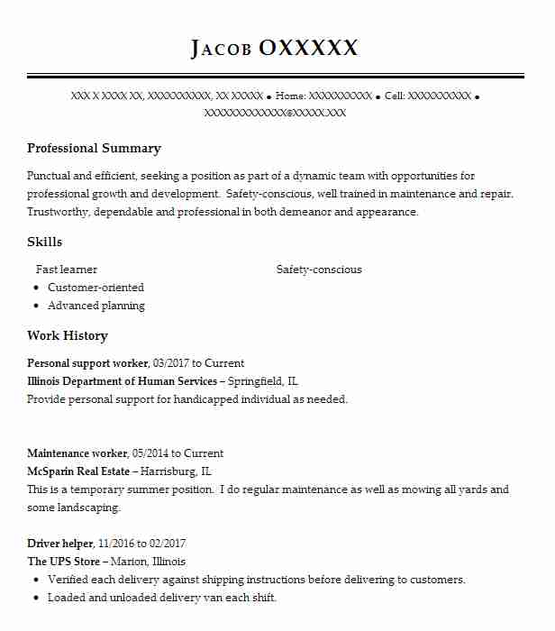 Personal Support Worker Resume Sample Resumes Misc LiveCareer