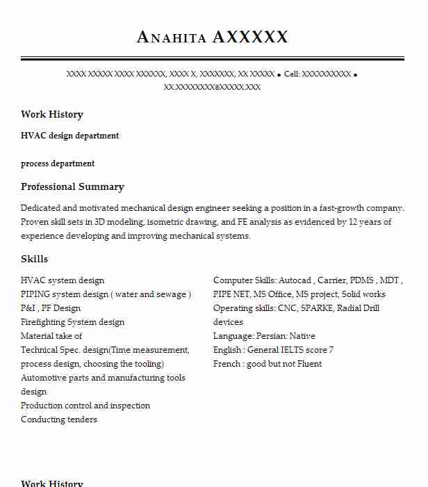 Hvac Mechanical Engineer Resume Sample LiveCareer