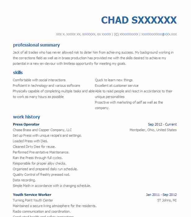 Find Resume Examples in Reading, MI LiveCareer