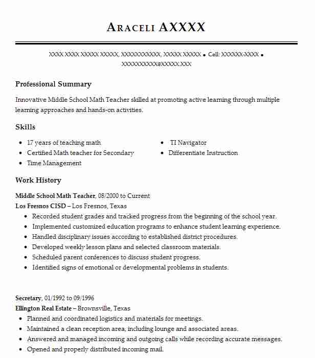 Middle School Math Teacher Resume Sample LiveCareer