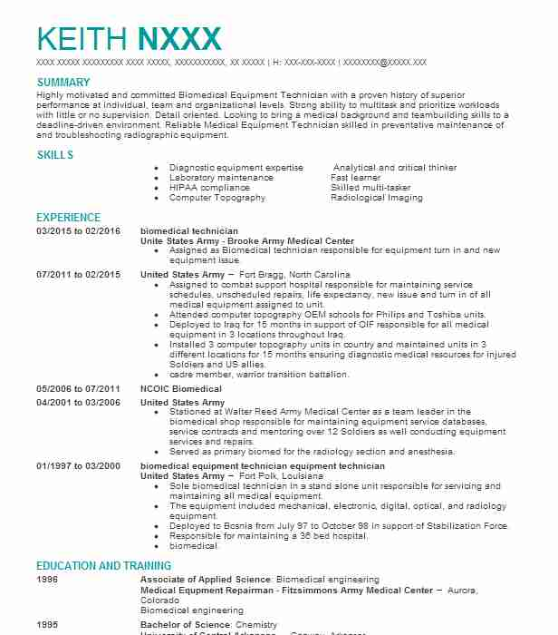 Biomedical Technician Resume Sample Technician Resumes LiveCareer