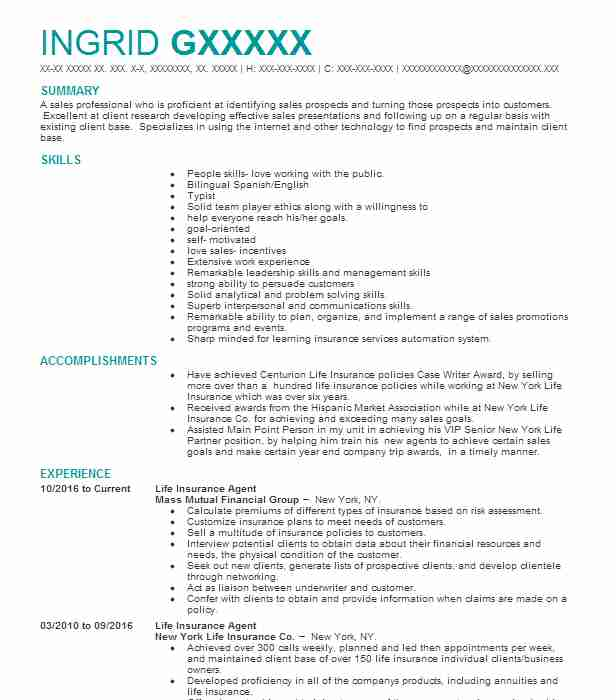 Life Insurance Agent Resume Sample Agent Resumes LiveCareer - insurance agent resume sample