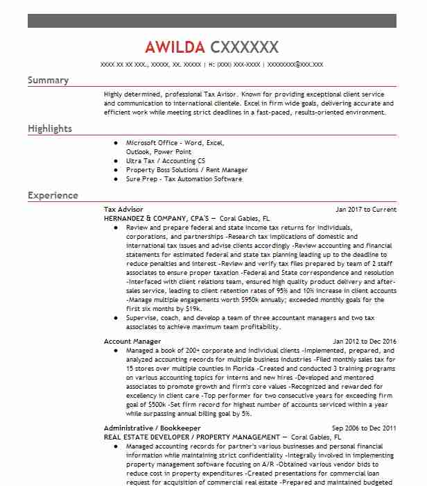 Tax Advisor Objectives Resume Objective LiveCareer - tax consultant sample resume