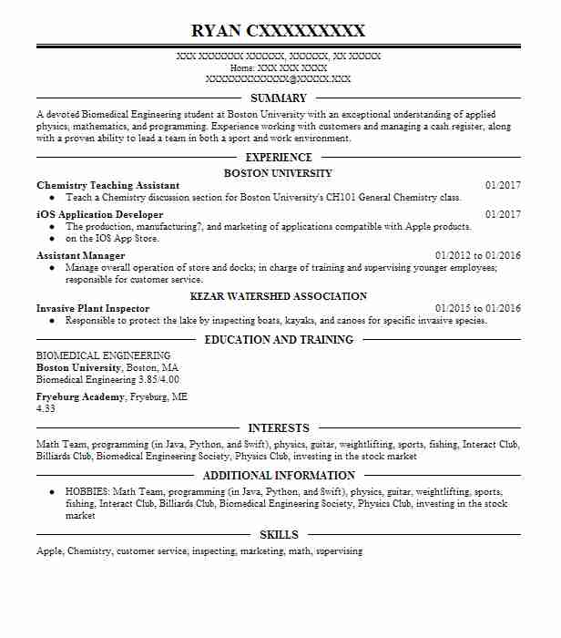 24 Biotechnology (Engineering) Resume Examples in Maine LiveCareer - biomedical engineering manager sample resume