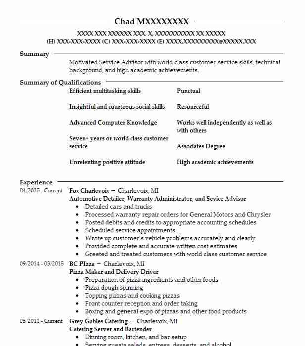 Find Resume Examples in Charlevoix, MI LiveCareer - automotive warranty administrator sample resume