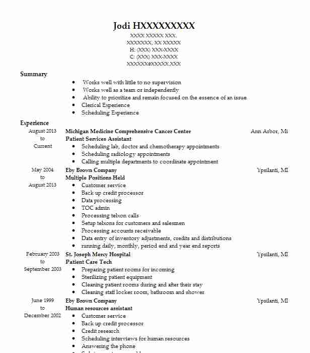 Patient Services Assistant Resume Sample LiveCareer