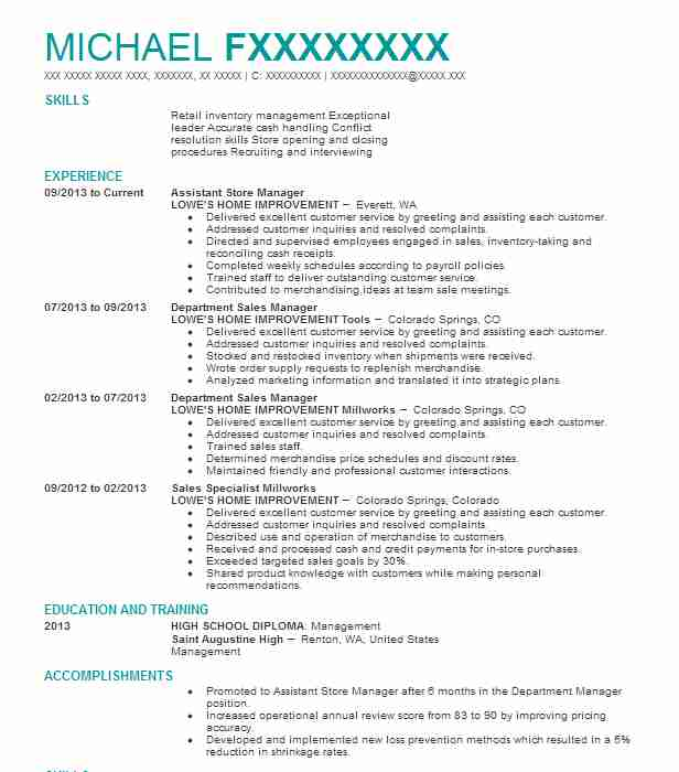Assistant Store Manager Resume Sample Manager Resumes LiveCareer