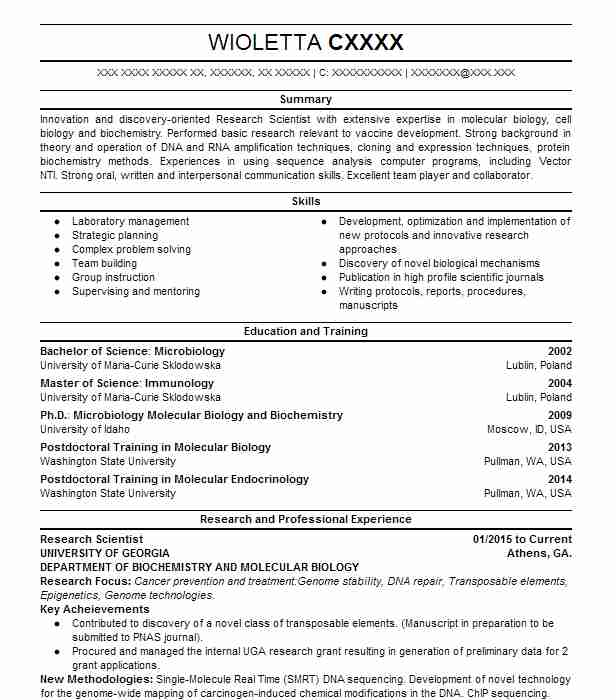 7036 Biotechnology Resume Examples Science Resumes LiveCareer