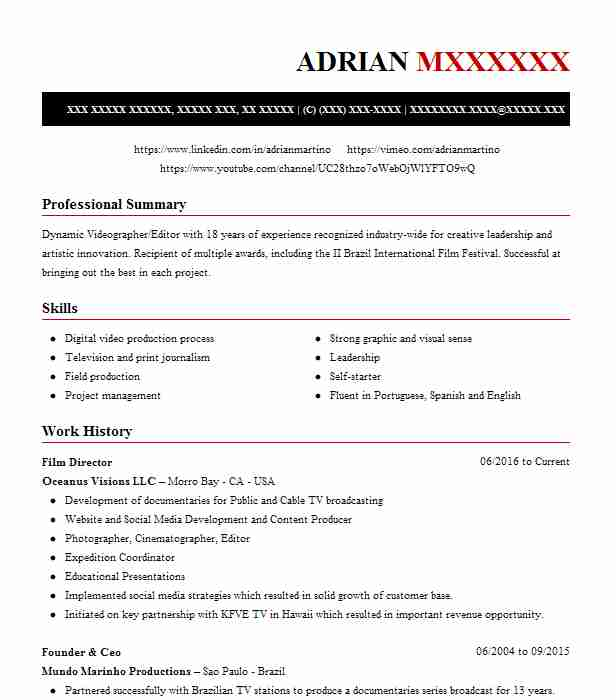 Film Director Resume Sample Resumes Misc LiveCareer