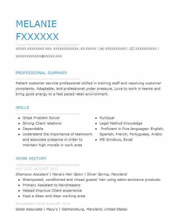 Shampoo Assistant Resume Sample Assistant Resumes LiveCareer
