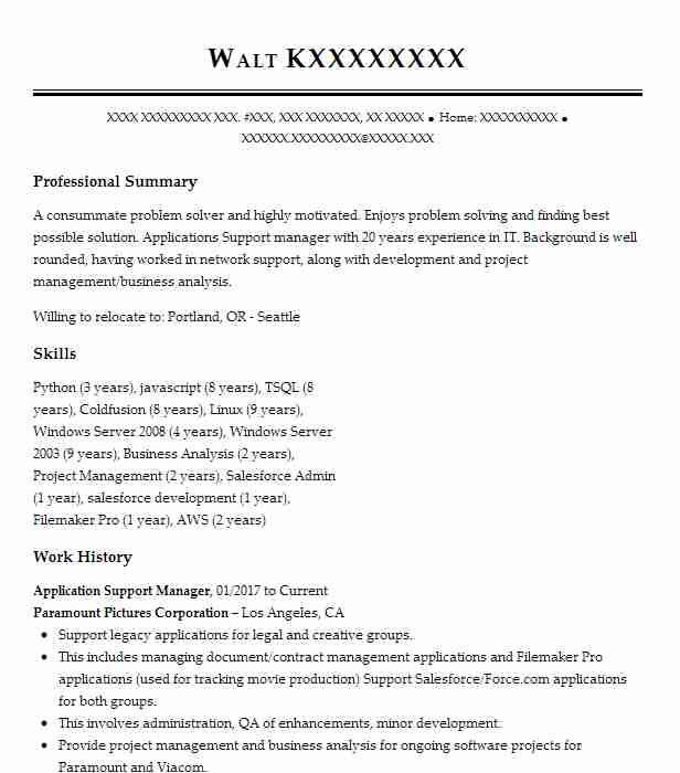 Application Support Manager Resume Sample LiveCareer