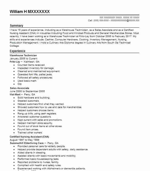 785 Installation, Maintenance And Repair Resume Examples in Georgia - warehouse technician resume