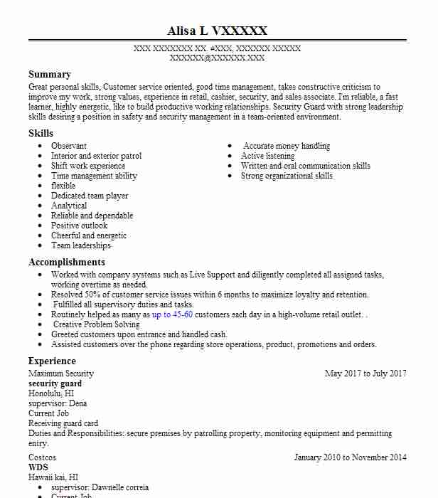 resume builder for security guard