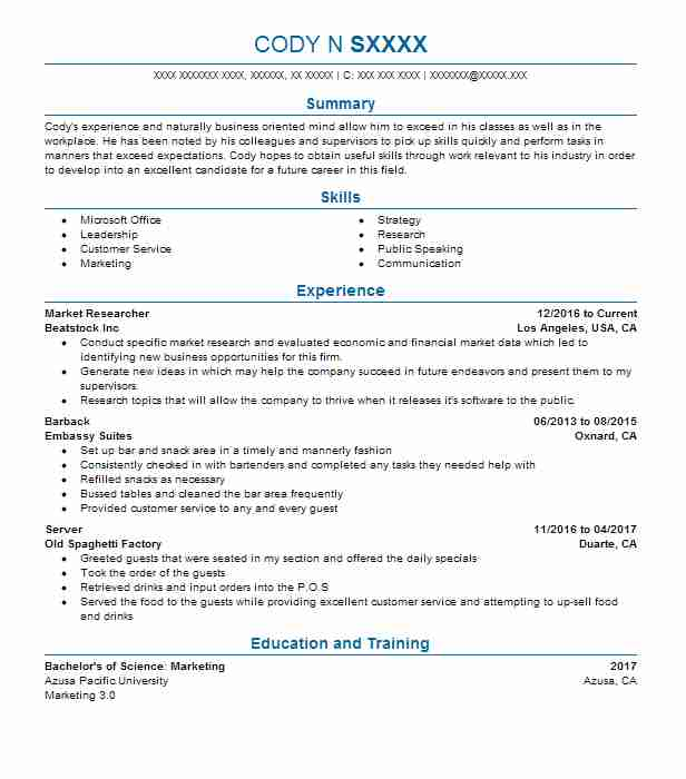 Best Market Researcher Resume Example LiveCareer