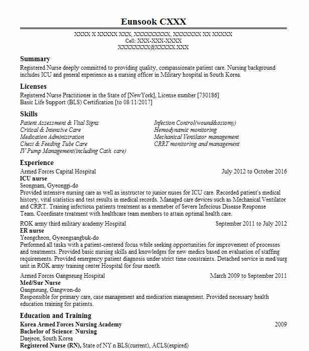 Icu Nurse Resume Sample Nursing Resumes LiveCareer