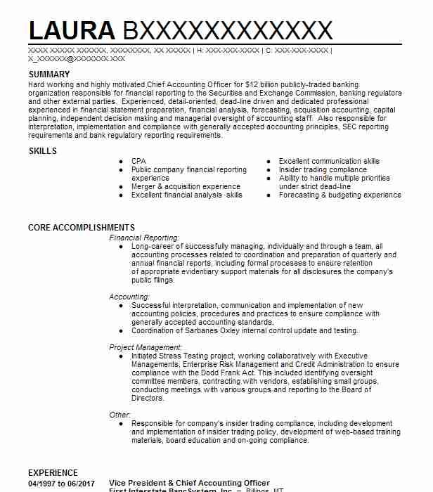 67 Financial Management (Accounting And Finance) Resume Examples in - vice president of finance resume