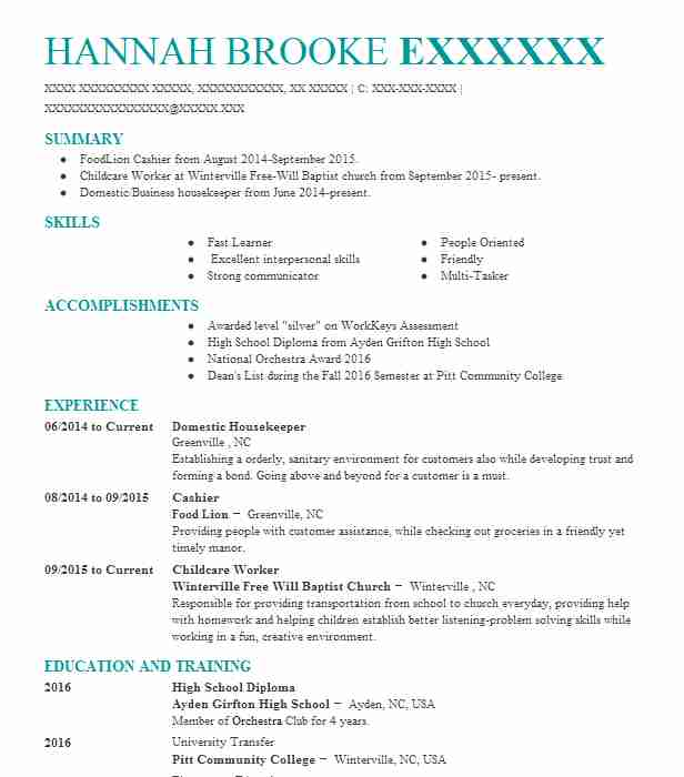 Domestic Housekeeper Resume Sample Housekeeper Resumes LiveCareer