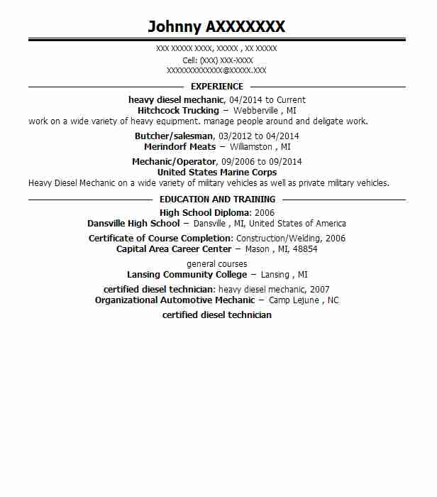 Heavy Diesel Mechanic Resume Sample Mechanic Resumes LiveCareer