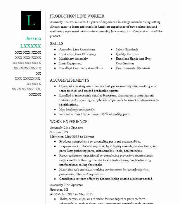 Assembly Line Operator Resume Sample Operator Resumes LiveCareer