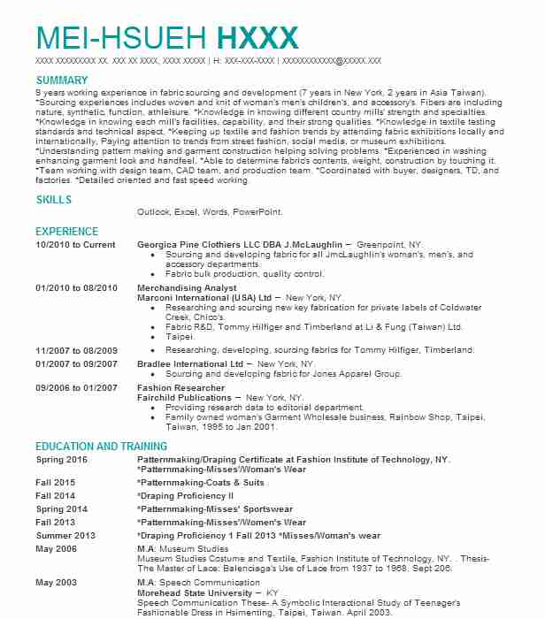 24 Pattern Makers And Dress Makers Resume Examples in New York - sourcinge analyst sample resume