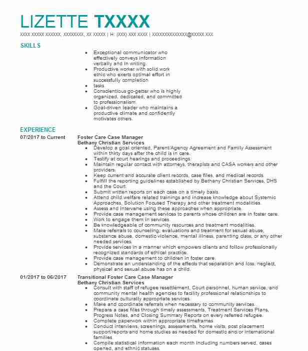 Foster Care Case Manager Resume Sample Manager Resumes LiveCareer - foster care case manager sample resume