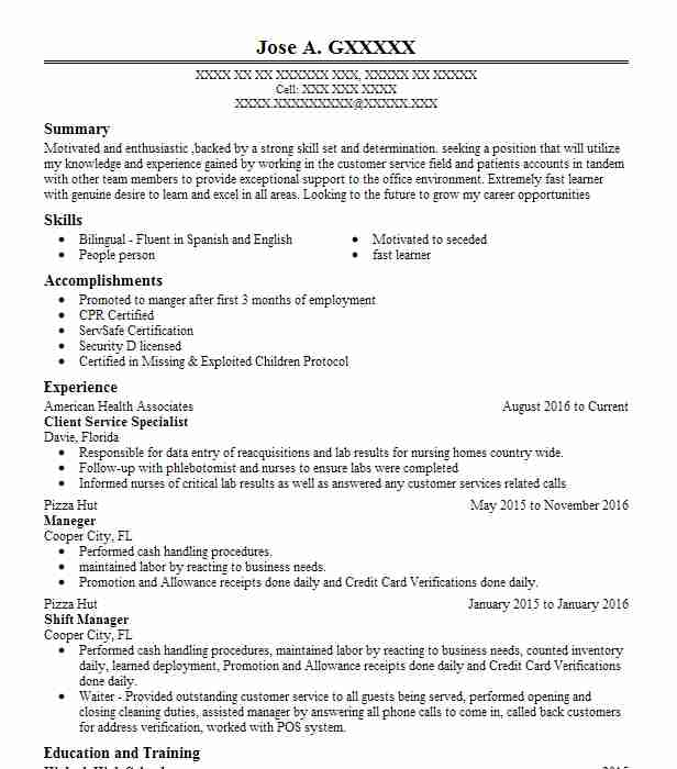 Client Service Specialist Resume Sample LiveCareer - customer service specialist sample resume