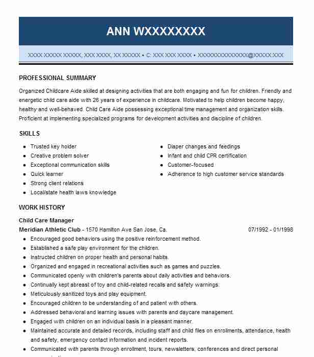 Child Care Manager Resume Sample Manager Resumes LiveCareer