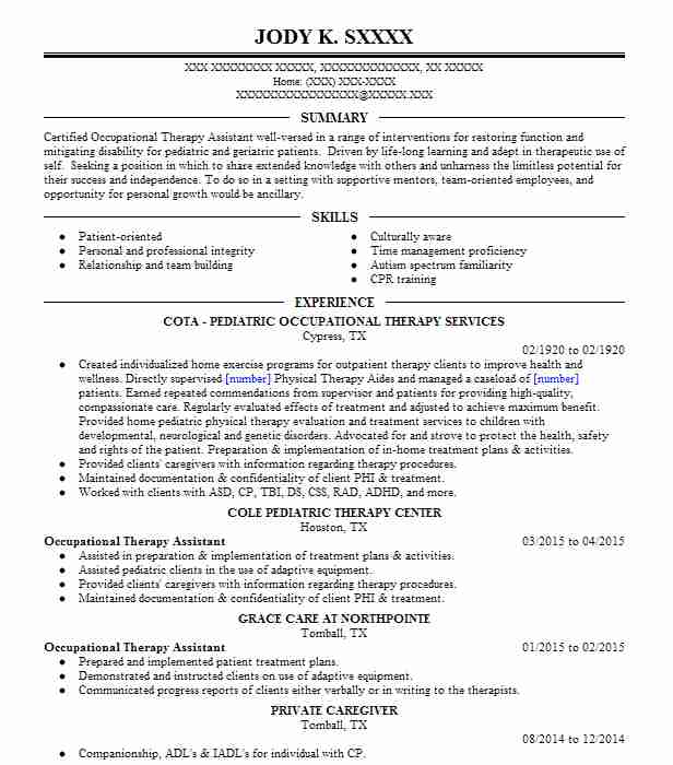 Occupational Therapy Assistant Resume Sample LiveCareer