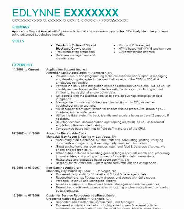 Application Support Analyst Resume Sample LiveCareer