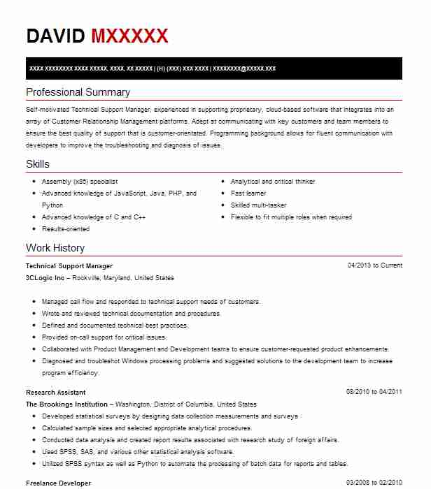 Technical Support Manager Resume Sample LiveCareer
