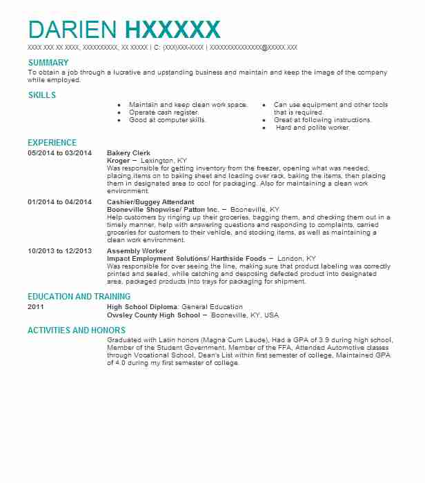 Find Resume Examples in Booneville, KY LiveCareer - Bakery Clerk Sample Resume