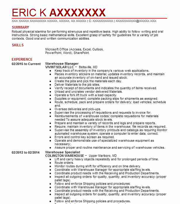 Warehouse Manager Resume Sample Resumes Misc LiveCareer