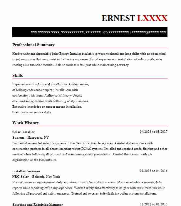 Solar Installer Resume Sample Installer Resumes LiveCareer