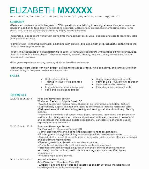 Food And Beverage Server Resume Sample Server Resumes LiveCareer