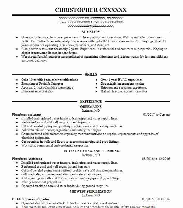 Plumbers Assistant Resume Sample Assistant Resumes LiveCareer