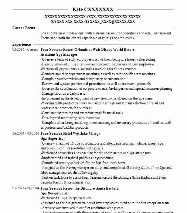 Assistant Spa Manager Resume Sample Manager Resumes LiveCareer