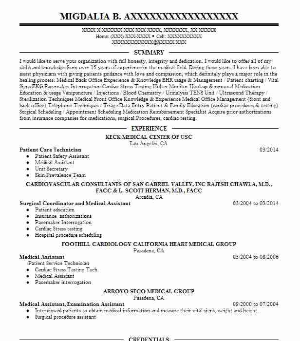 Patient Care Technician Resume Sample Resumes Misc LiveCareer - patient care technician resume sample