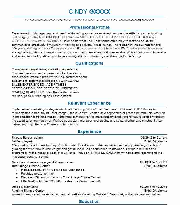 143 Fitness And Recreation Managers Resume Examples in Oklahoma - fitness manager resume