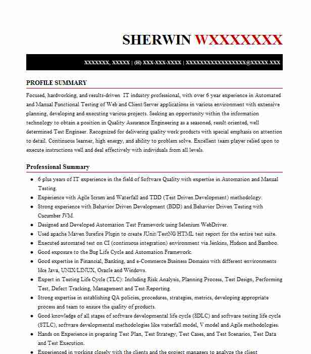 Automation Test Engineer Resume Sample LiveCareer
