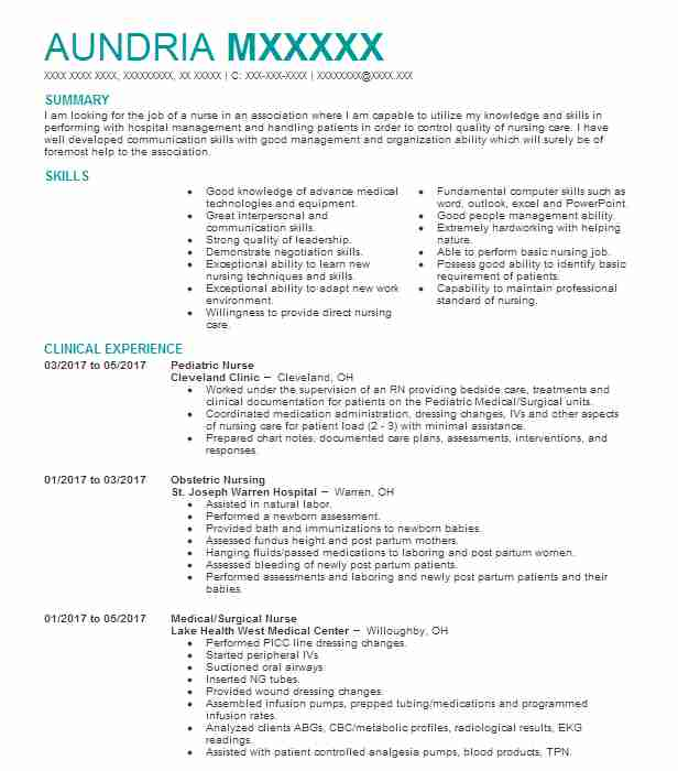 Pediatric Nurse Resume Sample Nursing Resumes LiveCareer