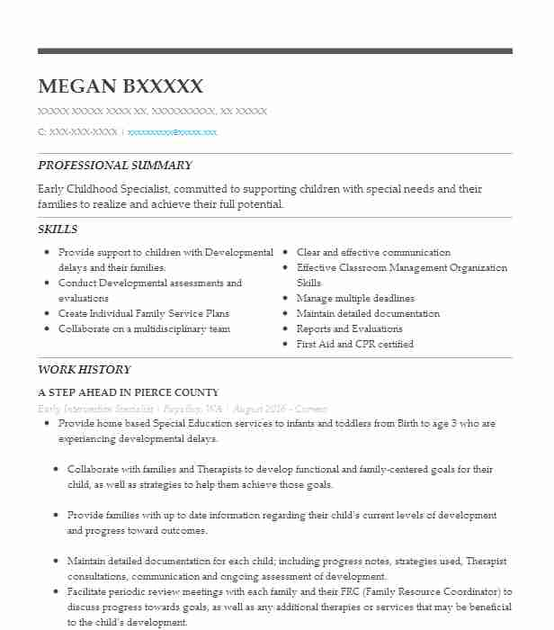 Early Intervention Specialist Resume Sample LiveCareer