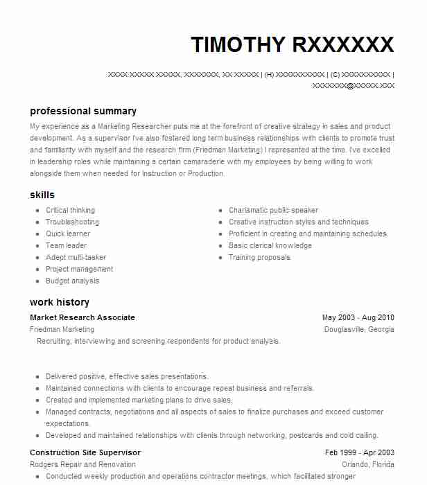 Market Research Associate Resume Sample LiveCareer