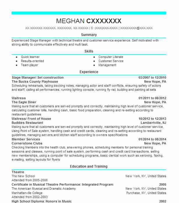 91 Stage Management Resume Examples in New York LiveCareer - stage management resume
