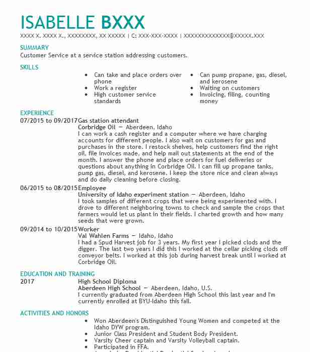 Gas Station Attendant Resume Sample Resumes Misc LiveCareer - create a resume