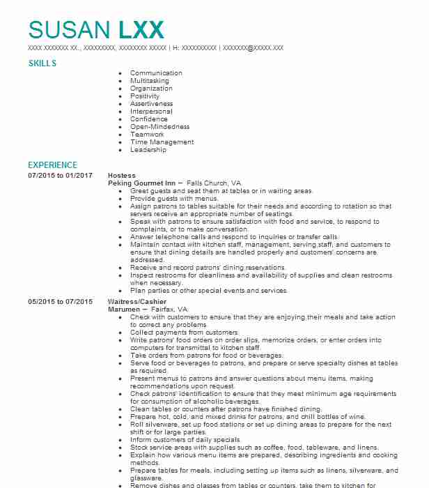 Hostess Resume Sample Hostess Resumes LiveCareer