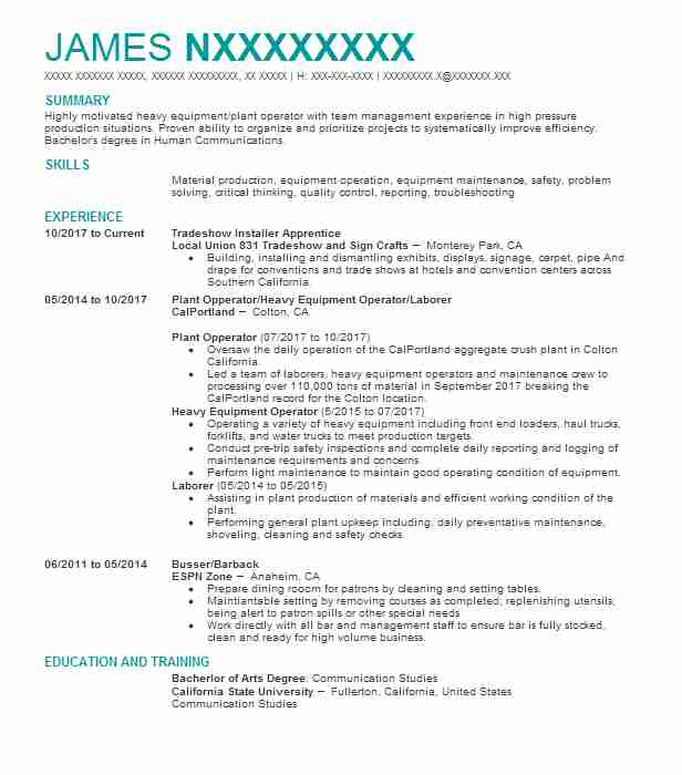 Field Operator / Operations Specialist Resume Example (Chevron