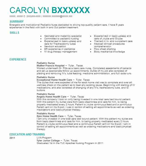 resume objective examples for pediatric nurse