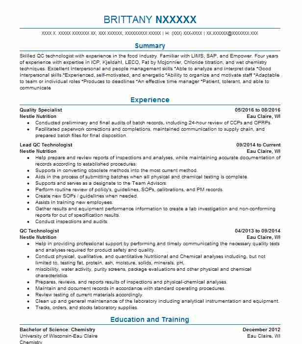 Analytical Chemist Resume Example (American Environmental Testing - analytical chemist resume